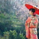 Una giapponese vestita con abiti tipici