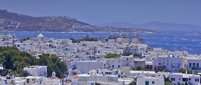 Mykonos vista dall'alto