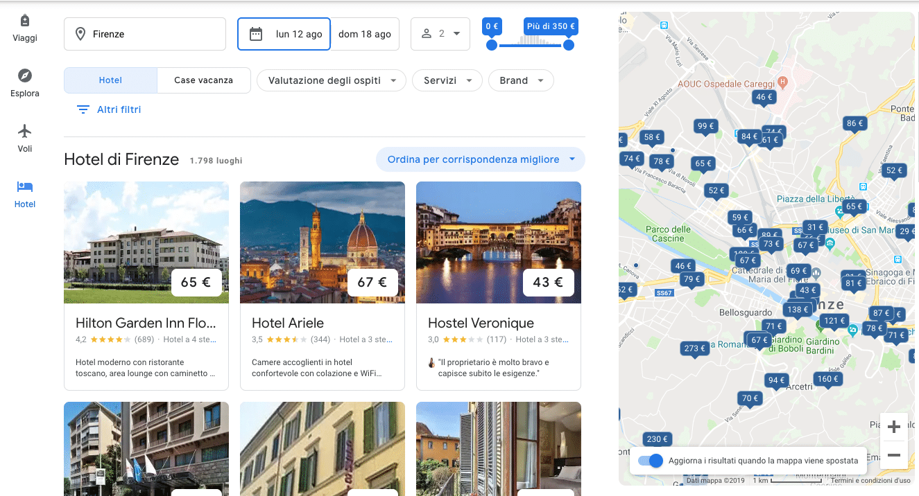 google alberghi