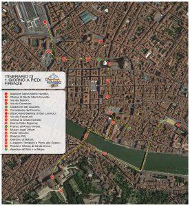 Mappa itinerario di un giorno a Firenze